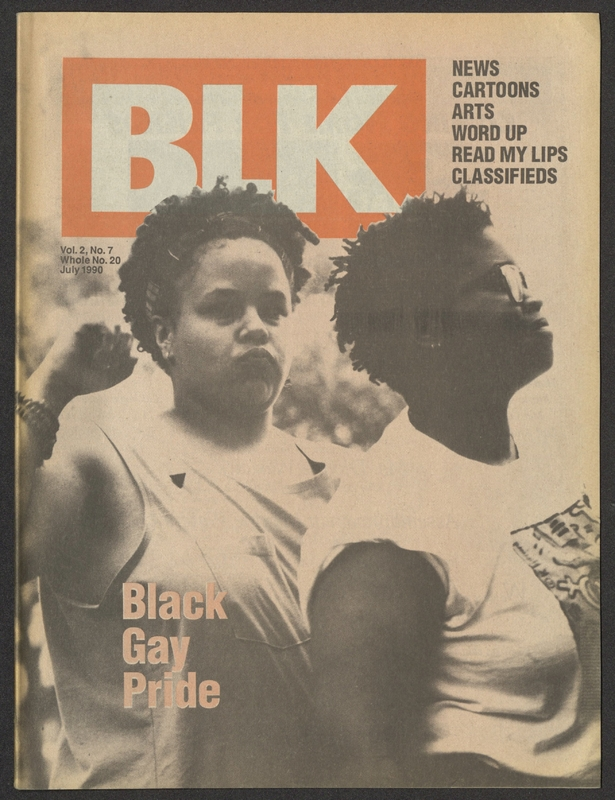 """BLK magazine cover featuring two African American women outdoors with the tagline """"Black Gay Pride"""""""