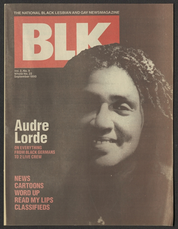 """BLK magazine cover featuring portrait of Audre Lorde with the tagline """"Audre Lorde on everything from Black Germans to 2 Live Crew"""""""