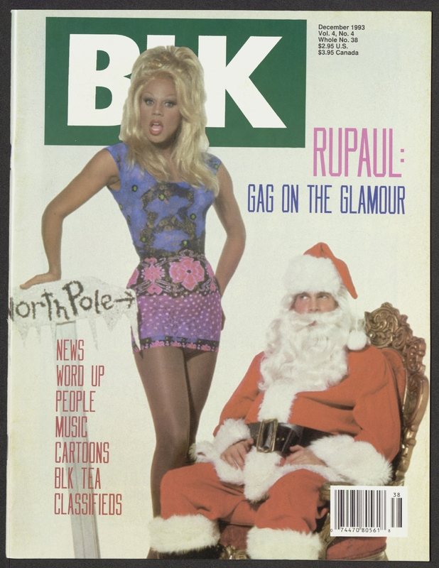 "BLK magazine cover featuring RuPaul standing next to a seated Santa Claus with the tagline ""RuPaul: Gag on the Glamour"""