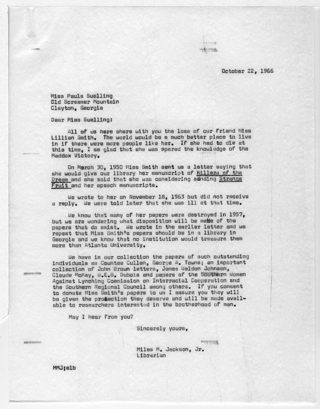 Correspondence between Paula Snelling and Miles M. Jackson