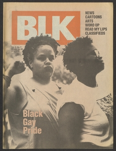 "BLK magazine cover featuring two African American women outdoors with the tagline ""Black Gay Pride"""