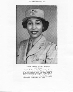 """Captain Sarah E. Murphy, Women's Army Corps, from """"Service Men's Center, Second Anniversary"""" pamphlet"""