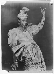 """Ethel Waters wearing ornate gown and headdress signed """"To Floyd [?] Ethel 9/3/34"""""""