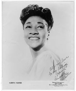 "Alberta Hunter headshot, signed ""All my love to my darling ""Harold"" Sincerely, Alberta"