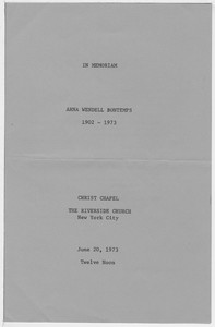 Arna Bontemps' Funeral Program, June 1973