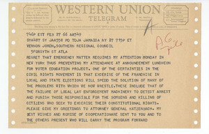 Telegram from Roy Wilkins to Vernon Jordan