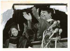 Written on verso: Spelman College 1992 Commencement - Ms. Maya Angelou, Poet, Writer, Speaker (right)