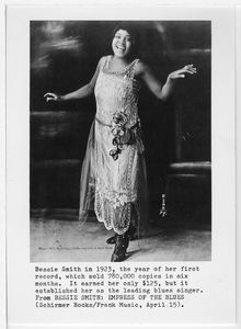 Bessie Smith in 1923, the year of her first record, which sold 780,000 copies in six months. It earned her only $125, but it established her as the leading blues singer. From BESSIE SMITH: EMPRESS OF THE BLUES (Schirmer Books/Frank Music, April 15).