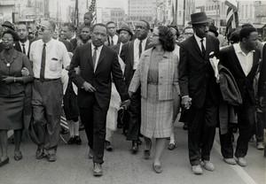 Dr. King and Coretta Scott King Leading Marchers, Montgomery, Alabama