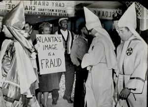 Civil Rights Demonstrators and Ku Klux Klan Members Share the Same Sidewalk, Atlanta