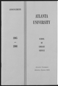 Atlanta University's SLIS Announcements, 1965-1966